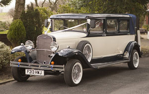 Blue and White Bramwith Wedding Car